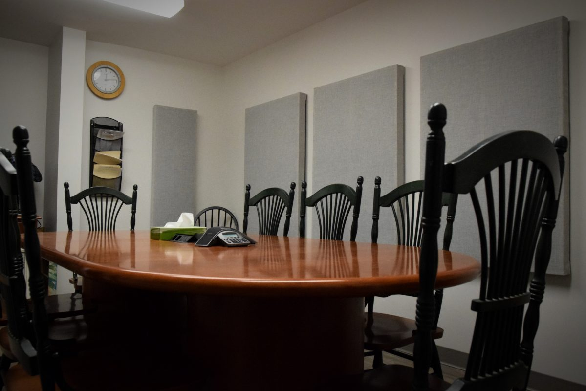 Corporate boardroom with acoustic treatment panels
